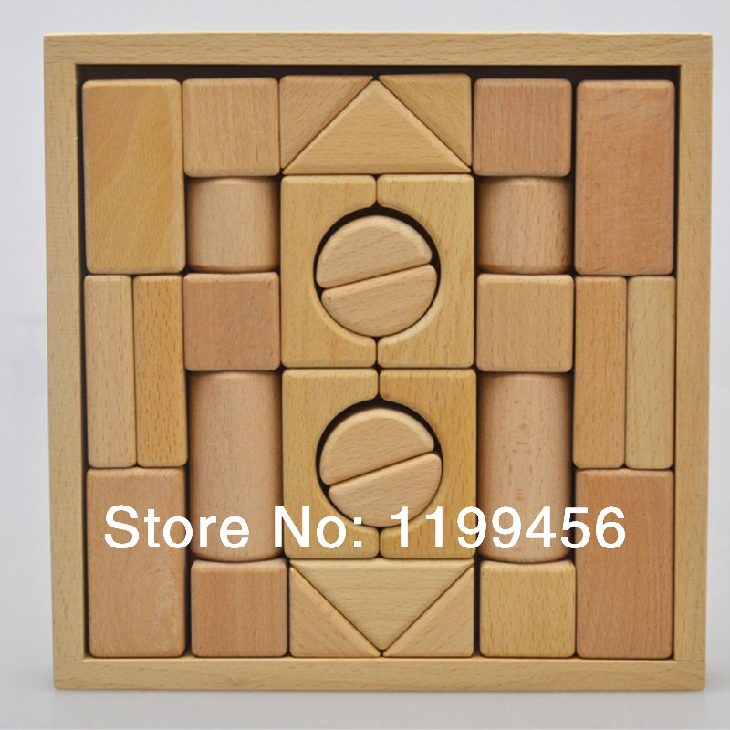 32-Piece Standard Unit Blocks Wooden Storage Box - Stimulates Creativity Building Blocks Toys<br><br>Aliexpress