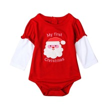 On Sales Christmas Newborn Baby Rompers Long Sleeve Baby Girls Clothing Santa Claus Costume One-Piece Baby Clothes