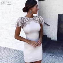 Adyce Fashion Bandage Dress 2018 Women Celebrity Evening Party Dresses Vestidos Sexy Beads Embellished Mini Runway Dress (China)