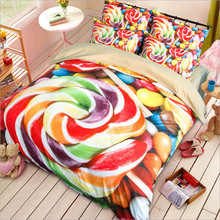 Cartoon Animal Pattern Duvet Cover Bed Sheet Set Stripe Geometry Lollipop Children Adult Bedding Set(China)