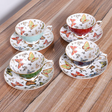 Classic Afternoon Tea Coffee Cup Bone China Teacups 24k Gilt Gold Butterfly High-Grade Tea Gift Sets Free Shipping!(China)