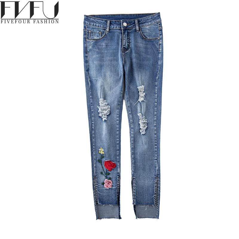 Fashion Jeans Pants Women 2017 Oversized Embroidered Pants Autumn Winter Jeans Holes Casual Ninth Length Pants Plus Size 26-32Îäåæäà è àêñåññóàðû<br><br>