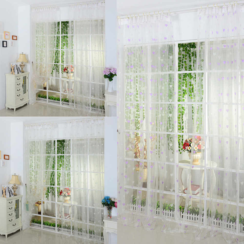 3 color  Sheer Smooth soft and comfortable small love Curtain Tulle Window Treatment Voile Drape Valance 1 Panel Fabric