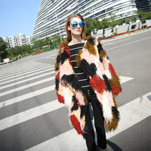 UK 2017 Fall / Winter New designer Women Colorful Faux fur Coat Long design Female outerwear(China)