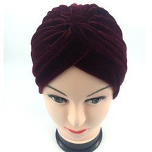 1PC Hand Made Woman Fashion High Quality Velvet Headbands Female Travel Street Take Photo Headscarf Turbans Muslim Hairbands