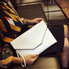 Brand Design Fashion Pu leather women envelope bag Handbag clutch evening bag female Clutches Handbag wristlet White