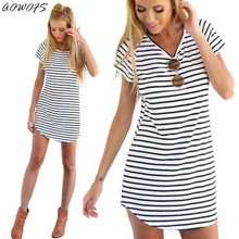 AOWOFS Fashion Summer Style Women Casual Loose Short Sleeve O-Neck Loose Striped Print Dresses Casual Mini Dress Stylish Gift