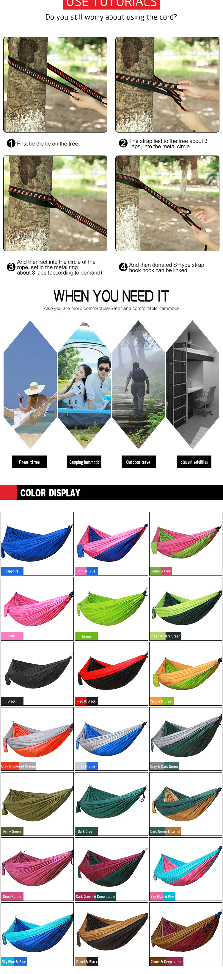 Double person Hammock Portable Parachute Nylon Fabric Travel Ultralight Camping hamak Outdoor Furniture casual hanging bed hamma 6