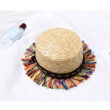 candy fringed visor Straw Summer Beach Sun hat Jazz panama hat with fringing Women Party Caps Fedora Trilby tassel Gangster Cap(China)