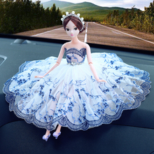 head Arts Crafts Automotive interior decoration creative personality Ms. Wedding Barbie doll cute cartoon car decoration gift a(China)