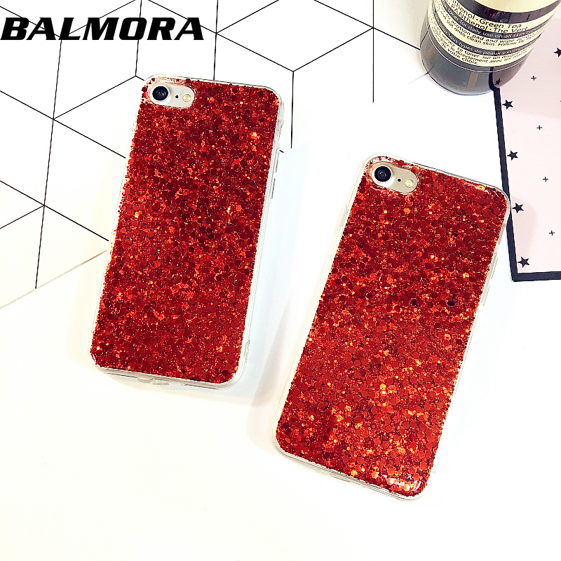 BALMORA 3D Sequins Bling Phone Case PC Hard Phone Back Cover Case For iPhone 6 6S Plus China Red For iPhone 7 7plus Cases(China (Mainland))