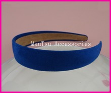 "10PCS 2.5cm 1.0"" Sapphire Matte Suede Velvet Covered Plain Plastic Hair Headbands with velvet back,royal blue wrapped hairbands"