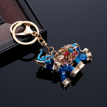 Lovely 3D Auspicious Crystal Elephant Keychain Bag Pendant Car Keys Holder Keyring Key Chain @M23(China)