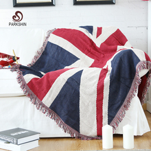 Parkshin High Quality Blanket 100% Cotton United Kingdom Flag Knitted Plaid Bedspread For Sofa/Bed/Home 130cmX170cm Blanket