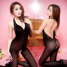 Buy sex lingerie suit Open crotch pajamas fishnet bodysuit, attached net Hang neck lace body stocking,women stripper clothes