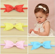 10pcs/lot Baby Cute Bow Satin Ribbn Worn Edges Hairbands Children Girls Hair Accessories Infant Headband Wholesale 16colors