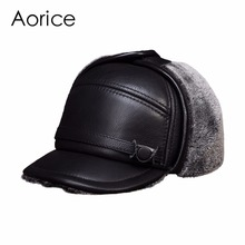 HL132 Men's genuine real cow skin leather baseball cap with Faux fur inside  brand new style winter warm Russian caps hats