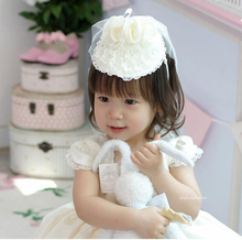 Good Quality Child Accessories Children Wedding Hair Bands Hat Princess Girl Lace Flower Headband Veil Hair