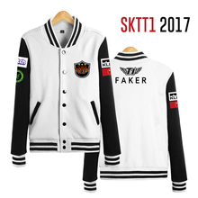 2017 SKTelecom T1 Mid-Season Invitational Team Jersey SKT LOL Jacket Champions SKT T1 SKT1 Jacket Peanut Faker Baseball Coat(China)