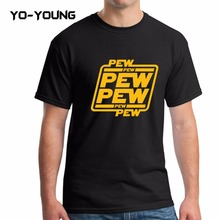 "Yo-Young Men T Shirts Star War Funny Letters Design ""PEW PEW PEW"" Golden PU Printed 100% 180g Combed Cotton Casual T Shirts(China)"