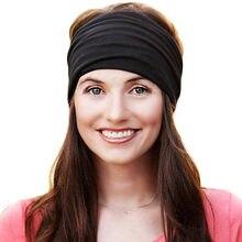 ebcd819afa3 Elastic Wide Turban Headbands for Women Cotton Bandana Headband Head Wrap  Hairband Headwear Fascinator Girl Hair Accessories