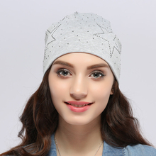 2017 Geebro Cotton Star Women Beanies Authentic Women's Spring Slouchy Autumn Warm Skullies Beanie Hat Red Gray Color JS262(China)