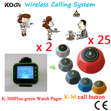 Wireless Waiter Server Paging System Watch Pager And Bell Call Button DHL/EMS Free Shipping(2 watch+25 table call button)