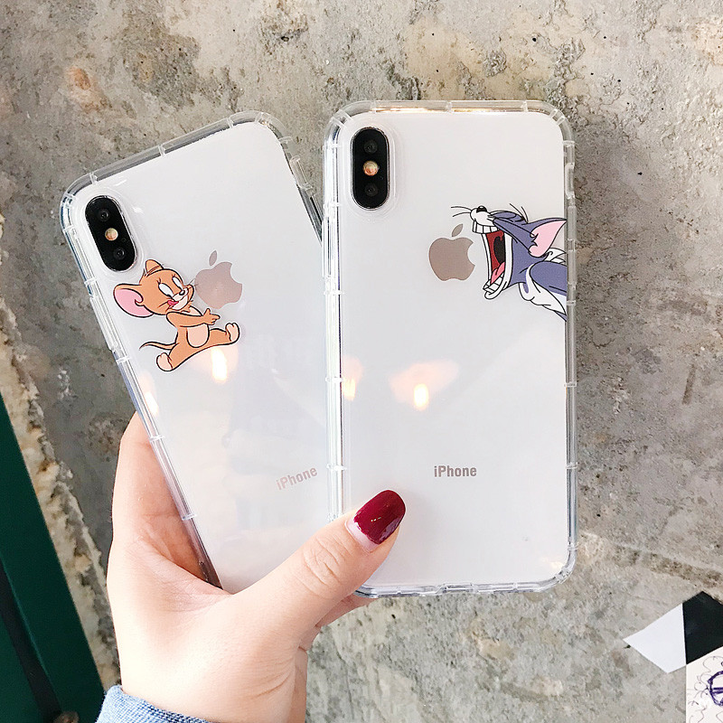 Funny Cartoon Phone Case for iPhone X XS Max XR Cute Cat Tom Cover for iphone 8 7 6 6S Plus Soft Silicone Clear Transparent Case(China)