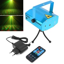 New light Stage Shining Lamp Sound Activation Stage Laser Star Starry Effects Projector - Green&Red Lights Bar Disco Party Lamp(China)