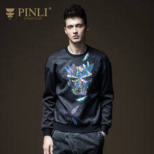 PINLI pinly fall 2017 NEW MENS stamp mosaic slim hoodies male B173209263(China)