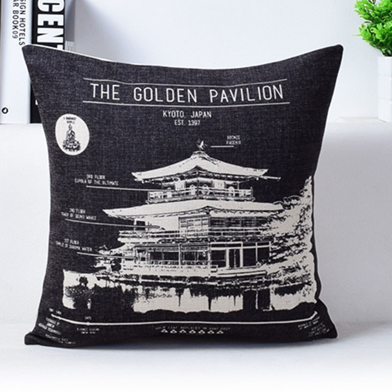 Vintage Camera Newspaper Cushion Cover Pillowcase The Golden Pavilion The Forbidden City Black and Beige Pillow Covers 6
