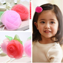 1Pcs Kid Hair Clip Chiffon Rose Flower Summer Designer Girls Hairpin Kids Accessories Green Leaf Childdren Hair Accessories