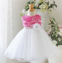 Princess Kids Girl Party Dress Beautiful Lace Crochet Christening Gown Flower Tutu Dresses For Girls Little Bridesmaid Clothes