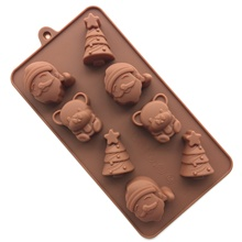 Cute DIY Christmas Tree Bear Santa Chocolate Mold Navidad Silicone Molds FDA Safe Ice Cube Mould Kitchen Accessories