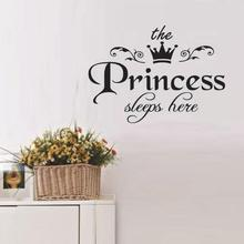 Kids Room Sticker Removable the Princess Sleeps here Letters Wall Stickers Art Vinyl Decals Baby Girls Bed Room Decor(China)