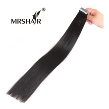 "MRSHAIR 1# Tape In Hair Extensions 20pcs Tape Weft Black Hair 16"" 18"" 20"" 22"" 24"" Non Remy Human Hair Straight Adhesives Hair(China)"