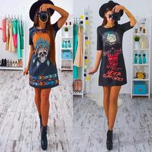 The Latest Fashion Trend Dress Women Choker Casual Loose Print Tops T-Shirt Lace-up Mini Dress