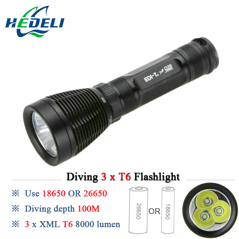 100M Diving flashlight scuba flashlights underwater light dive torch 3 CREE XML T6 waterproof 8000 lumens 8 mode 18650 OR 26650<br>