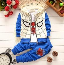 2017 Baby Boys Spring Autumn Spiderman Sports suit 3 pieces set Tracksuits Kids Clothing sets Casual clothes Coat Pant t shirt