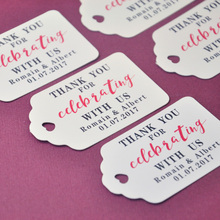 Personalized Gift Tags Thank You Wedding Tag 100pcs/set Customized Name and Date Favor tags(China)