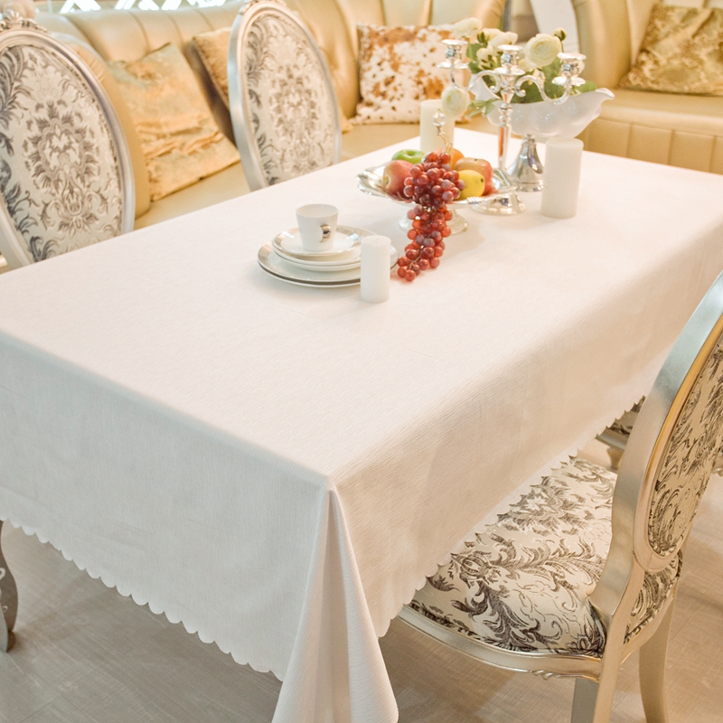 Fashion European White Old Bark Rectangle Tablecloths Hotel Dining White table Cloth For Rectangular Tables(China)