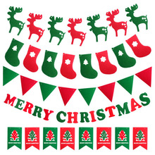 NEW Year Merry Christmas Hang Window Tree Party Decoration Pull Flag Market Pub Banner Hollow Decorate .D304