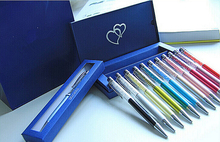 24 colors swarovski elements Crystal Pen with gift box case diamond on top Crystalline stardust Ballpoint Pen Xmas wedding gift