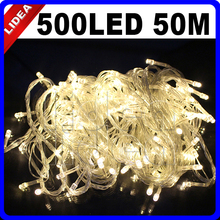 50M 500 LED 9 Colors Wedding Holiday New Year Xmas Navidad Fairy String Decoration Outdoor Garland LED Christmas Light CN C-35(China)
