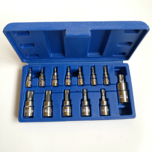 "Mainpoint Hot Sale  13pc Tamper Proof Torx Star Bit Socket Nuts Set 1/4 3/8 and 1/2"" Drive T8 - T70"