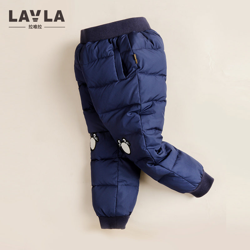 LAVLA Winter 2017 New Arrival Boys and Girls White Down Pants Kids Trousers Warm Thicken Down Pant Windproof  Waterproof Pants<br>