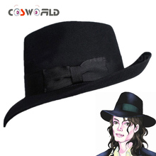 Coshome Michael Jackson Cosplay Caps Fedoras Concert Dance Hats Classic Solid Black And White Wide Brim Jazz Gentleman Wool Hats
