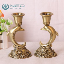 "NEO 2 Pcs/Pair 14cm/(5.5"")Height Metal Retro Dolphin Candlestick Pillar Candle Holder Cup Pedestal Candlelight Dinner"