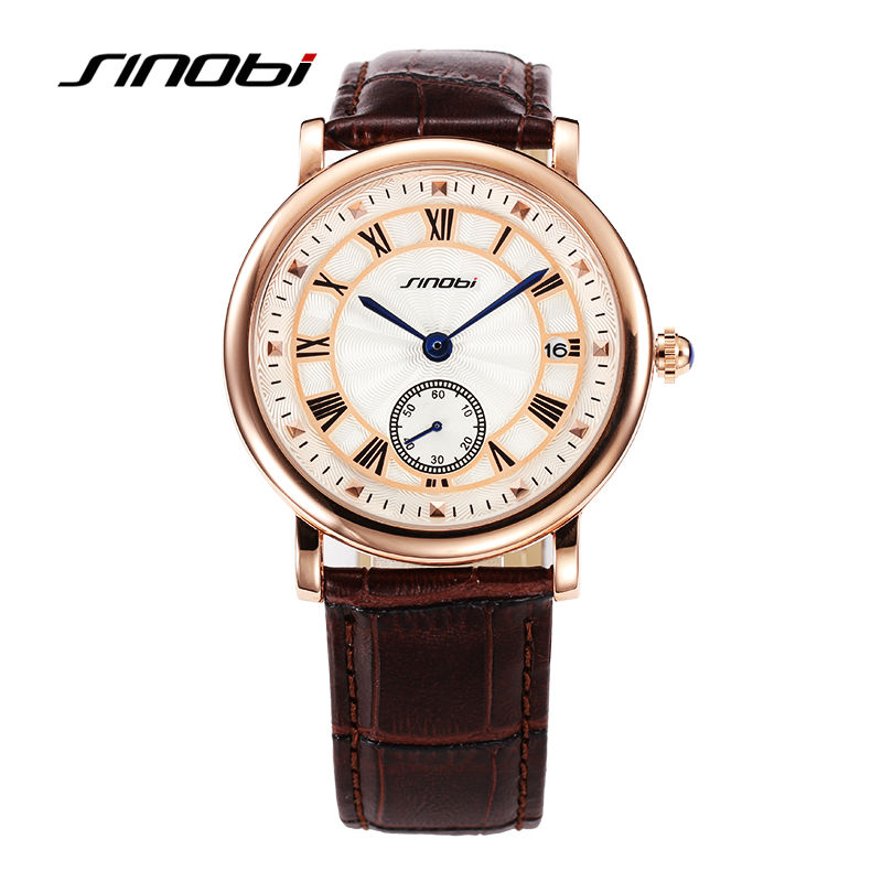 SINOBI Mens Business Watch Genuine Leather fashion Quartz watch Auto calendar waterproof sports wrist watches relogio masculino<br><br>Aliexpress