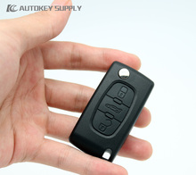 AUTOKEY SUPPLY 3 Button Flip Remote Key Shell (Without Battery Holder) For Peugeot /Citroen. Free Shipping(China)